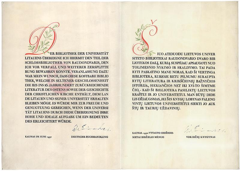 Walteris Fischeris, Raudondvario bibliotekos dovanojimo aktas, 1930.