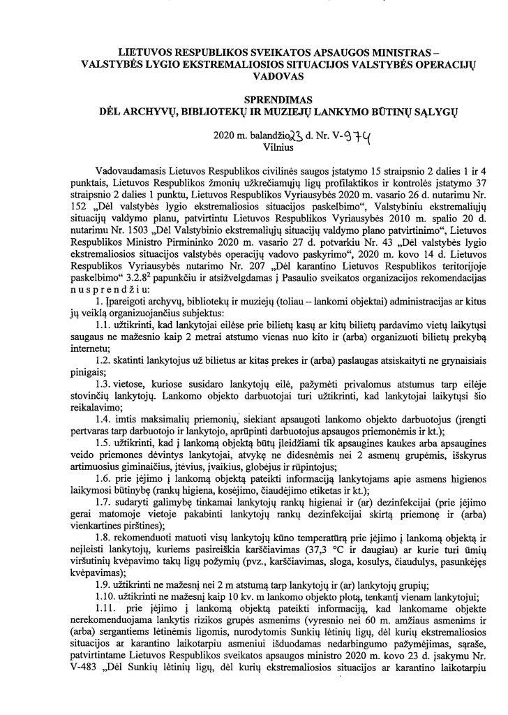 DĖL ARCHYVŲ, BIBLIOTEKŲ IR MUZIEJŲ LANKYMO BŪTINŲ SĄLYGŲ (V-974) (1)_Page_1